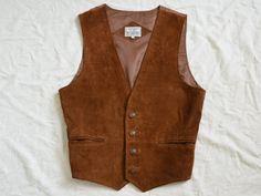 Marrone camoscio vest uomo in pelle gilet vintage formale Edwardian gilet Steampunk rinascimentale paese occidentale tradizionale M Medium