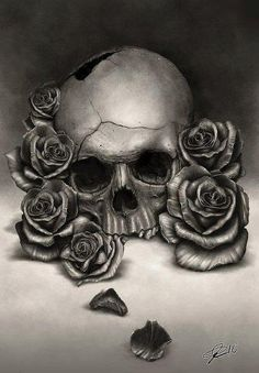 .Skull and Roses drawing. #sketch #draw