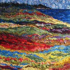 """Traditional Nova Scotian Hooked Rug, """"Where the Fields Meet the Bay """" Deanne Fitzpatrick"""