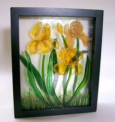 Fused Glass Painting Yellow Iris by CDChilds on Etsy, $125.00