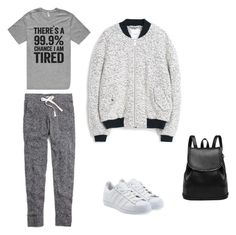 """""""Lazy but cute!"""" by chlobug77 on Polyvore featuring Madewell, MANGO and adidas Originals"""