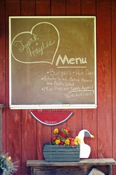 Keep your vow renewal on budget with a simple menu. Southern wedding - simple menu display