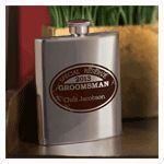 """Your best man and groomsmen can keep their finest libation fresh in this classy personalized """"Special Reserve"""" flask, handsomely adorned with a brown medallion insignia that can be personalized with name and date."""