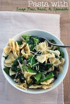 Pasta with Snap Peas Basil and Spinach from @Katie Jasiewicz