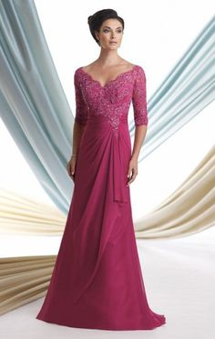 Hot Sale Lace Applique Deep V-Neck 3/4 Long Sleeve Sheath Gorgeous Sexy Mother Of The Bride Dresses off Evening Prom Dress Gowns