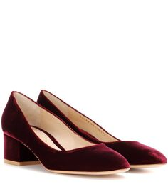 Gianvito Rossi - Exclusive to mytheresa.com – Linda 45 velvet pumps - Featuring a comfortable block heel, Gianvito Rossi's Linda 45 pumps are a timeless silhouette. Crafted from luxe velvet in a luscious bordeaux hue, this pair will be the perfect companion to daring dresses and pantsuits alike. seen @ www.mytheresa.com