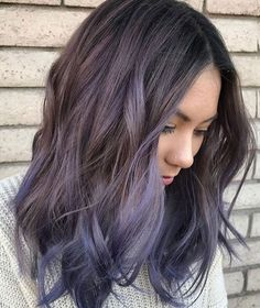 Purple Balayage for Dark Hair - Short Hair Balayage - Best Balayage Hair. Balayage For Dark Hair. hair styles Top Balayage For Dark Hair - Black and Dark Brown Hair Balayage Color Guide) Brown Ombre Hair, Brown Hair Balayage, Hair Color Balayage, Short Balayage, Ombre Bob, Balayage Highlights, Violet Brown Hair, Dark Balayage, Dark Highlights