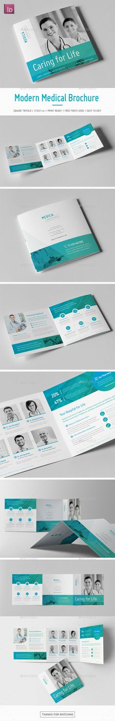 Modern Medical Square Trifold Brochure Template InDesign INDD