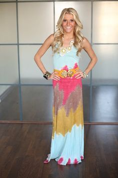 Tie Dye Summer Nights Maxi Dress - Modern Vintage Boutique