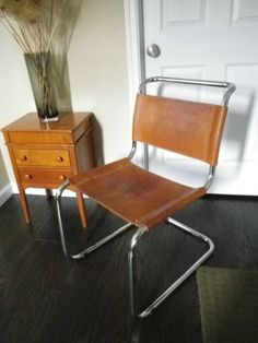 Midcentury chromeleather cantilever dining chairs Dining chairs