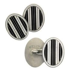 Bold Art Deco Black and White Striped Enamel Silver oval Cufflinks