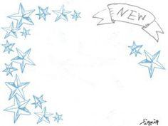 フリー素材:フレーム;大人可愛いアンティーク風のNesの手書き文字のりぼんと星いっぱいのイラスト;640×480pix