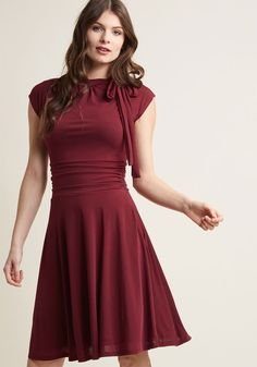1940s Style Dresses | 40s Dress, Swing Dress Dance Floor Date A-Line Dress in Burgundy in XXS - Cap Knee Length by ModCloth $22.97 AT vintagedancer.com
