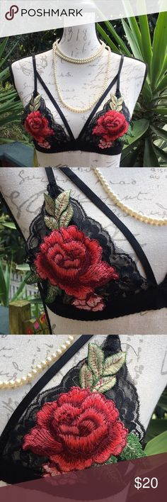 "New! Rose Embroidered Lace Bralette New! Boutique item. Sexy bralette with rose embroidery over black lace. The leaves extend out of the fabric - see pics. adjustable straps | no hook closure; bralette goes over head.  Materials: 65% cotton and 35% polyester  Medium: Width=15"" & Length=10"" Large: on order Intimates & Sleepwear Bras"