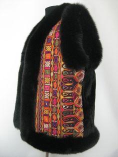 Pelsvest. Vest  / waistcoat, made of mink and fox, old Indian handembroidery from Rajastan. Handmade Jane Eberlin, Copenhagen, Denmark.www.samarkand.dk