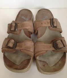 Earth sandals size 9.5 leather straps Smoky Brown slides TIA flip flops  #Earth #Slides #Casual