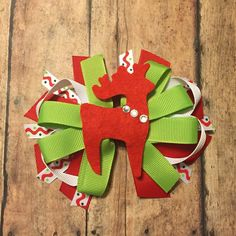Christmas Red White green reindeer hair bow  by BBgiftsandmore