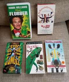 VHS: Flubber, George of Jungle, Willy Wonka Chocolate Factory, Stripes, Reptiles