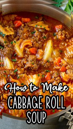 Baked Cabbage, Cabbage Roll Soup, Cabbage Rolls, Stuffed Cabbage Soup, Stuffed Pepper Soup, Healthy Soup Recipes, Crockpot Recipes, Baked Chicken Recipes, Cabbage Recipes