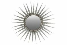"46"" Decorative Metal Mirror Sunburst Starburst Modern Antiqued Silver Glass"