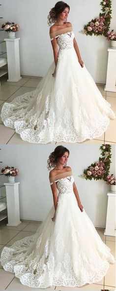 Elegant white lace off shoulder court train wedding dress