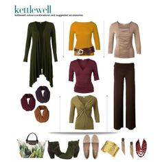 Autumn outfit suggestion from Kettlewell Colours. LH I have the grape waterfall cardi... guess I could just switch the green for a tee:)