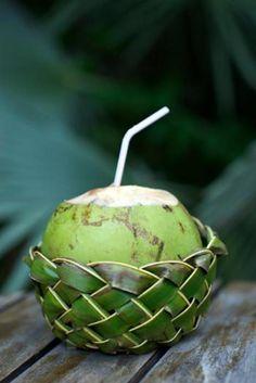 Fresh Coco Gelado Drinking Coconut in Woven Basket