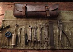 1930s Gamage of London leather motorcycle tool pouch & complete Whitworth tools and canvas pouch