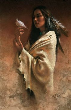 Idian girl with dove