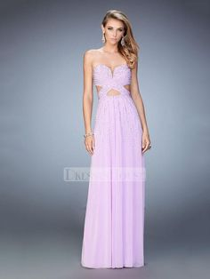 Deep Sweetheart and X Back Gathered Throughout Chiffon Prom Dress PD12167