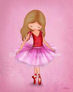 Girls ballet pink art print, Nursery art, Dancing ballerina bedroom decor, recital, kids wall hanging. $15.00, via Etsy.