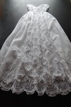 """French Handmade Christening Gown with Exceptional Lace and Embroidery in Finest Handkerchief Cotton """"Belle Epoque"""" Baby Christening Gowns, Baptism Dress, Baby Blessing Dress, Baby Dress, Little Girl Dresses, Flower Girl Dresses, Baptism Outfit, Gown Pattern, Vintage Baby Clothes"""