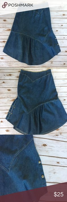 """Vintage Modest Denim Skirt Full Sz 16 size 16  Great looking vintage heavy, soft denim skirt. Buttoned side on left  Side zip  No flaws  Rich dark navy blue...no fading at all...lovely skirt. Perfect for summer wear!   (Laying flat) Waist  17""""  Hips 22"""" Overall length  36"""" Skirts"""