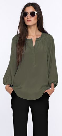 Amour Vert Suchi Blouse :: Loose or tucked in, the soft silk refines this flowy blouse and is fashioned with a split neckline. Wear with jeans tucked in or loose with slacks and pumps for the office. $191