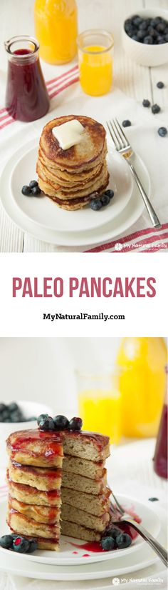 """These Paleo pancakes are light and fluffy, compared to other Paleo pancakes recipes I have tried and are quick to pull together. I love how there are 3 kinds of Paleo """"flours"""" so you can't taste any one kind. Almond flour, coconut flour, tapioca flour and bananas are the main ingredients in this Paleo pancakes recipe."""