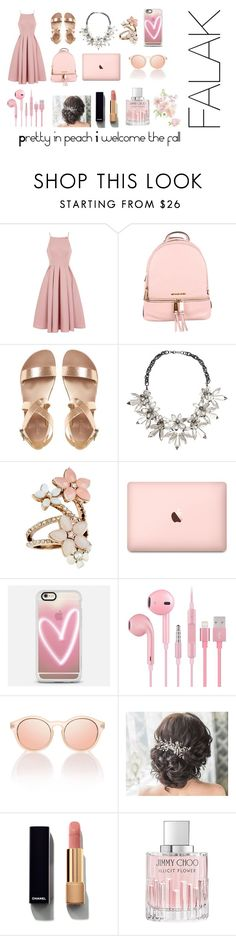 """""""Pretty in peach I welcome the fall"""" by falakthackar ❤ liked on Polyvore featuring Chi Chi, MICHAEL Michael Kors, John Lewis, Accessorize, Casetify, Chanel and Jimmy Choo"""