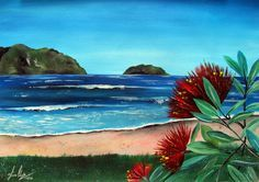 One of our beautiful New Zealand Beaches complete with some native Pohutukawa flowers. I loved working on this piece and found myself reminded of how lucky we are to have all this at our disposal. New Zealand Beach, New Zealand Art, Abstract Landscape, Landscape Paintings, Nz Art, Mosaic Wall Art, Maori Art, Kiwiana, Nautical Art