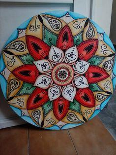 tela a óleo arte de Rosangela Bavaresco Acrylic Painting Tutorials, Dot Painting, Ceramic Painting, Silk Painting, Mandala Azul, Mandala Dots, Arabesque, Ganapati Decoration, Painted Rocks