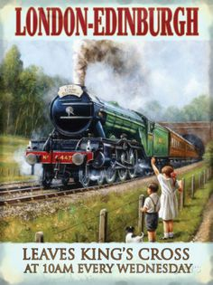 Advertising Signs The Flying Scotsman Steam Locomotive Lner Railway Train Uk Medium Metal Tin Sign Train Posters, Railway Posters, Flying Scotsman, British Travel, Diesel, Old Trains, Steam Locomotive, Vintage Travel Posters, Train Travel