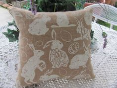 Plump Easter Bunny Burlap Pillow, Happy Easter Decor 14Et by THISPLUSTHAT on Etsy