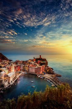 Sunset in Vernazza, Italy. This town was so cool, it made the book! www.mauiwriter.com/frenchdiary #ItalyVacation