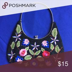 Fancy handbag Used a couple times Fancy handbag,no brand,good condition,very nice embroidery&beads motif Bags Totes