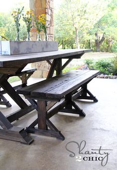 fancy x table bench | Shanty 2 Chic | photo tutorial with Kreg Jig.