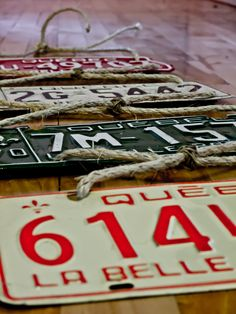 Old License Plates - Vintage Wall Decoration Made Of Four Old License Plates From La Belle Province - Perfect For Dude. $65.99, via Etsy.