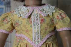 Reserved for S -- American Girl Doll Clothes -- 1940's -1950's Style Dress in Yellow Floral Print with Vintage Lace & Buttons -- C84