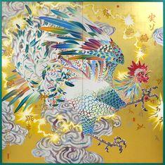 Sisyu,  Raijin (God of Thunder), 2017,  acrilico su carta, foglia d'oro, cm 182x182,6