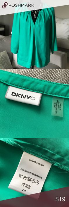 DKNY / DKNYC teal top • L Great DKNYC loose-fitting teal charmeuse top. 3/4 length sleeves. Wonderful drape. Tiny loose stitch at bottom of V that would be a cinch to take care of. Perfect pre-owned condition otherwise. DKNYC Tops Blouses