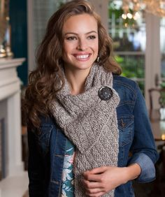 Button Diamond Scarf Free Knitting Pattern from Red Heart Yarns