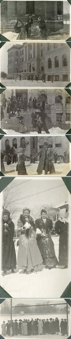 Baylor students playing in the snow on campus, 1926.