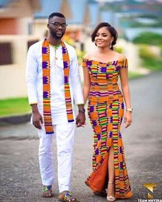 kente Dress 2018 Hello beautiful ladies, Today, we will be appreciating the latest Ghana Kente styles rocked by our fellow women over in the Gold coast. Couples African Outfits, Couple Outfits, African Attire, African Wear, Woman Outfits, African Wedding Dress, African Print Dresses, African Fashion Dresses, African Dress
